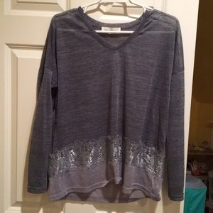 Tops - Blue long sleeve with lace trim